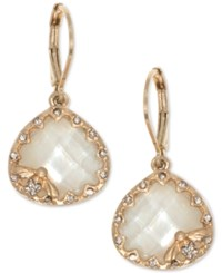 Lonna And Lilly Gold Tone Pave Colored Stone Bee Drop Earrings Pearl