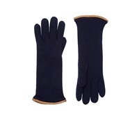 Barneys New York Leather Trimmed Cashmere Gloves Blue