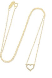 Jennifer Meyer Small Open Heart 18 Karat Gold Diamond Necklace