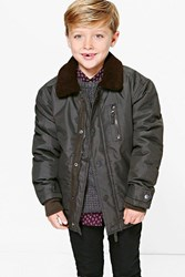 Boohoo Padded Winter Collar Jacket Khaki