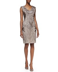 Sue Wong Sleeveless Embroidered Cocktail Dress Brown