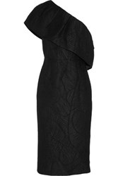 Merchant Archive One Shoulder Matelasse Dress Black