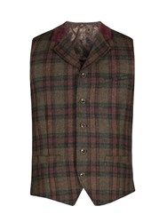 Gibson Men's Green And Burgundy Check Waistcoat Green