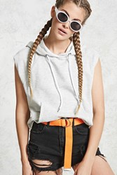Forever 21 Raw Cut Cropped Hoodie Light Heather Grey