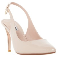 Dune Cathy Sling Back High Heel Court Shoes Nude Patent