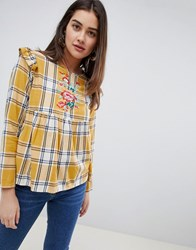 Influence Checked Embroidered Top With Frill Detail Mustard Check Yellow