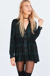 Kimchi And Blue Dusk Button Down Babydoll Tunic Top Green