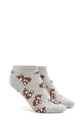 Forever 21 Teddy Bear Print Ankle Socks Grey Multi