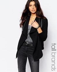 Noisy May Tall Leather Look Jacket With Zip Detail Black