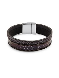 Saks Fifth Avenue Leather Cuff Bracelet Silver Black