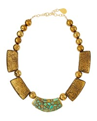 Devon Leigh Golden Turquoise And Pyrite Beaded Bib Necklace Women's