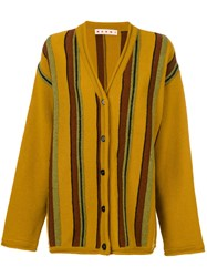 Marni Oversized Striped Cardigan Women Virgin Wool 38 Brown