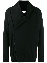 Alexander Mcqueen Cashmere Off Centre Buttoned Cardigan Black