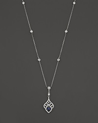 Bloomingdale's Sapphire And Diamond Pendant Necklace In 14K White Gold 16 White Blue