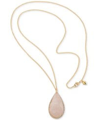 Carolee Gold Tone Long Pink Stone Pendant Necklace