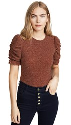 Moon River Sparkly Ruched Sleeve Top Burgundy Multi