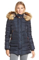 Women's Vince Camuto Down And Feather Fill Parka With Faux Fur Trim Navy