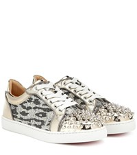 Christian Louboutin Vieira Spikes Embellished Sneakers Gold