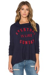 Sundry Sunday Hooded Pullover Sweatshirt Navy
