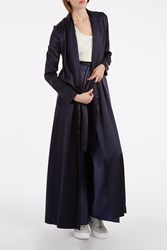 Galvan Silk Long Belted Coat Navy
