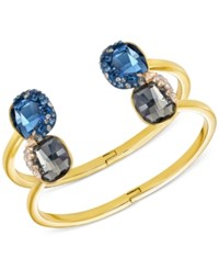 Swarovski Gold Tone Blue And Gray Crystal And Pave Double Hinged Bangle Bracelet