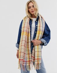 Pieces Oversized Check Scarf Grey