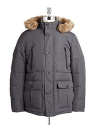 William Rast Hooded Faux Fur Trimmed Parka Ebony