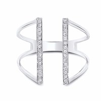 Cosanuova Bridge Diamond Ring 18K White Gold Silver