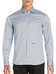 Dsquared Relaxed Fit Cotton Button Down Shirt Blue