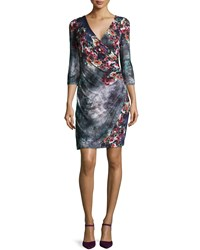 Kay Unger New York 3 4 Sleeve Floral Jersey Wrap Dress