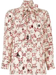 Gucci Printed Pussy Bow Neck Blouse Nude Neutrals