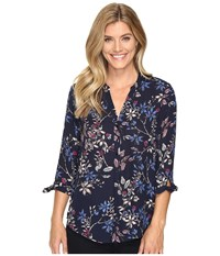 Ivanka Trump Printed Floral Button Down Navy Artic Women's Clothing