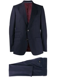 Gucci Pinstriped Two Piece Suit Blue
