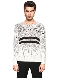 John Richmond Tattoo Printed Silk And Cotton Sweater Off White Black