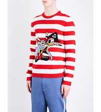 Gucci Striped Donald Duck Wool Jumper Red White