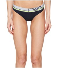 Emporio Armani Pop Lines Collection Thong Marine Women's Underwear Blue
