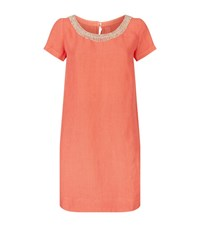 120 Lino Embellished Linen Dress Female Orange