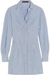 Versace Striped Cotton Poplin Shirt Dress Sky Blue