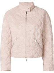 Moncler Gamme Rouge Cropped Quilted Jacket Pink And Purple