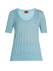 Missoni Scoop Neck Ribbed Knit Top Light Blue