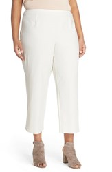 Plus Size Women's Eileen Fisher Crop Straight Leg Stretch Crepe Knit Pants Bone