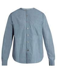 By Walid Bobby Collarless Cotton Shirt Light Blue