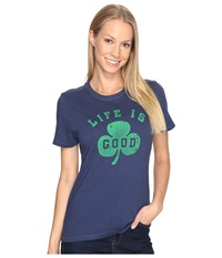 Life Is Good Shamrock Crusher Tee Darkest Blue Women's T Shirt