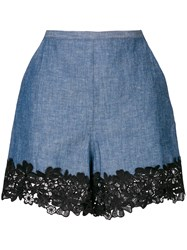See By Chloe Lace Trim Chambray Shorts Blue