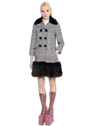 Marc Jacobs Faux Fur And Wool Blend Plaid Coat