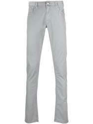 Jacob Cohen Slim Fit Trousers With Pocket Square Blue