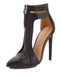 L.A.M.B. Daisey Crocodile Embossed Leather Bootie Black