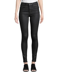 Rag And Bone Coated High Rise Skinny Ankle Jeans Black