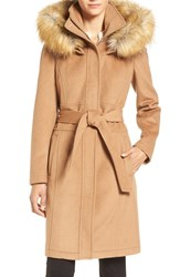 Ivanka Trump Women's Wool Blend Coat With Removable Faux Fur Trim Hood Vicuna