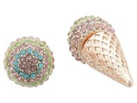 Betsey Johnson Pave Ice Cream Cone Ear Jacket Earrings Multi Earring